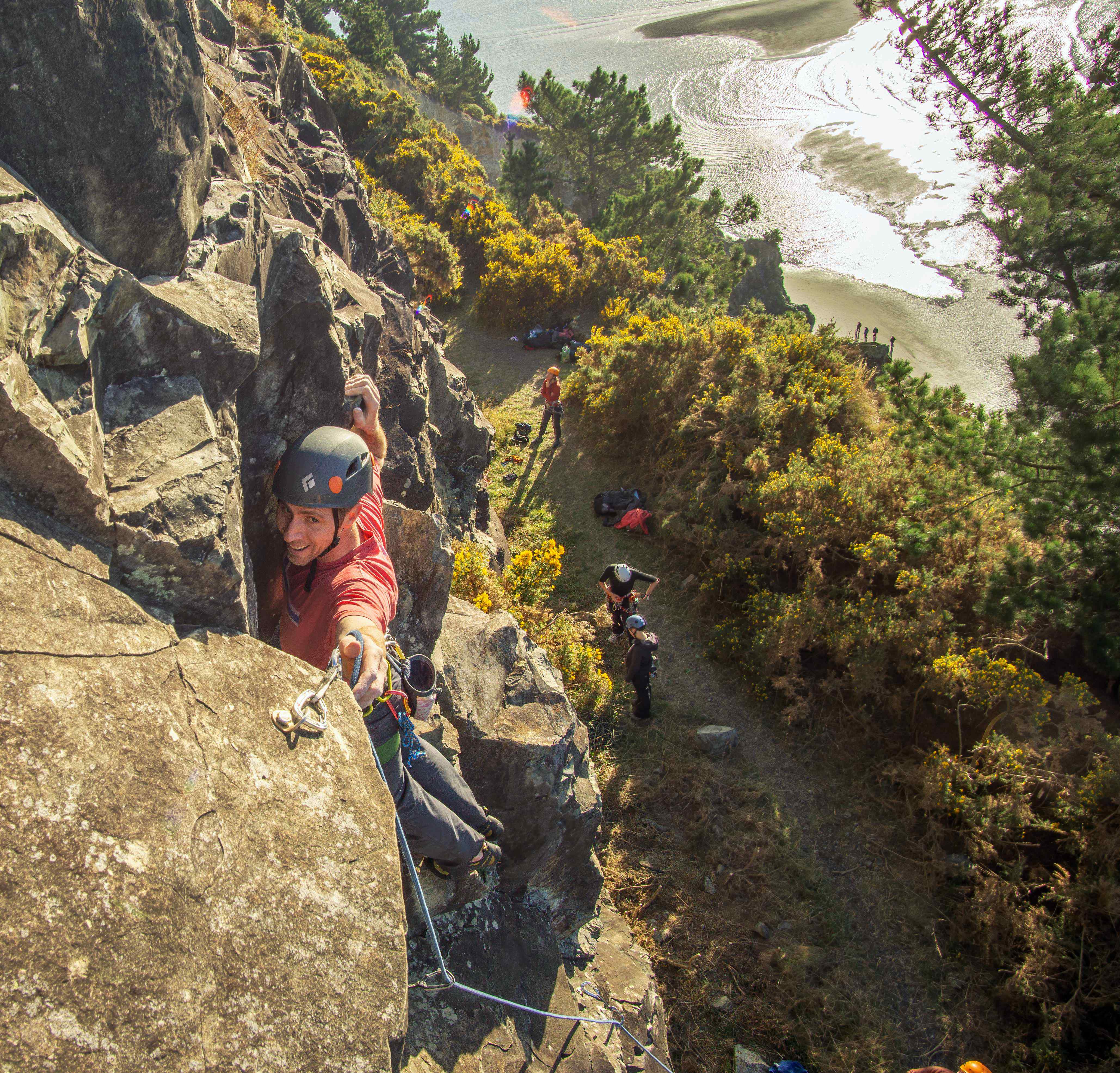 Climbing in the sun at Cutting Crag. Credit: Robin Reijers